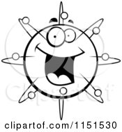 Cartoon Clipart Of A Black And White Happy Smiling Atom Face Vector Outlined Coloring Page