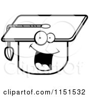 Cartoon Clipart Of A Black And White Happy Smiling Graduation Cap Vector Outlined Coloring Page by Cory Thoman