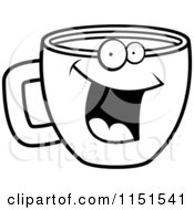 Cartoon Clipart Of A Black And White Happy Smiling Coffee Cup Face Vector Outlined Coloring Page by Cory Thoman