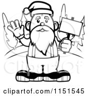 Cartoon Clipart Of A Black And White Santa Waving And Holding A Sign By Woods Vector Outlined Coloring Page