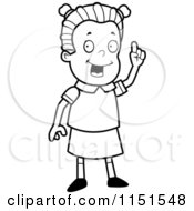 Cartoon Clipart Of A Black And White Smart School Girl Holding Up A Finger Vector Outlined Coloring Page