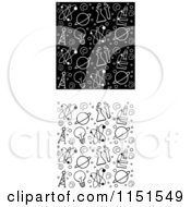 Cartoon Clipart Of Black And White Seamless Science Patterns Vector Outlined Coloring Page