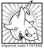 Cartoon Clipart Of A Black And White Tough Shark Over A Burst Vector Outlined Coloring Page by Cory Thoman