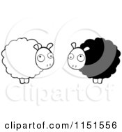 Cartoon Clipart Of Black And White Fluffy Sheep Vector Outlined Coloring Page