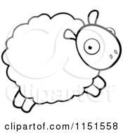 Cartoon Clipart Of A Black And White Sheep Leaping Vector Outlined Coloring Page
