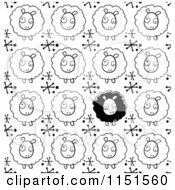 Cartoon Clipart Of A Black And White Sheep Background Pattern Vector Outlined Coloring Page
