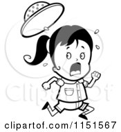 Cartoon Clipart Of A Black And White Scared Safari Girl Running Vector Outlined Coloring Page