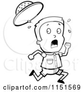 Cartoon Clipart Of A Black And White Safari Boy Running Vector Outlined Coloring Page