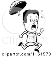 Cartoon Clipart Of A Black And White Scared Safari Boy Running Vector Outlined Coloring Page