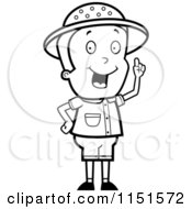 Cartoon Clipart Of A Black And White Safari Boy Holding Up A Finger And Expressing An Idea Vector Outlined Coloring Page