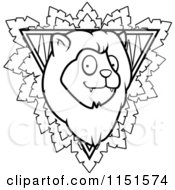 Cartoon Clipart Of A Black And White Safari Lion Sign Vector Outlined Coloring Page