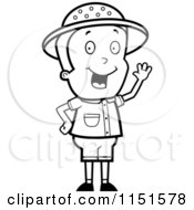 Cartoon Clipart Of A Black And White Waving Safari Boy Vector Outlined Coloring Page