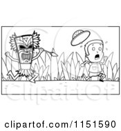 Cartoon Clipart Of A Black And White Scared Explorer Kid Running From A Tribal Man With A Spear Vector Outlined Coloring Page by Cory Thoman