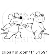 Cartoon Clipart Of A Black And White Romantic Rat Pair Dancing Vector Outlined Coloring Page