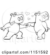 Cartoon Clipart Of A Black And White Amorous Hippo Character Biting A Rose And Dancing With A Female Vector Outlined Coloring Page
