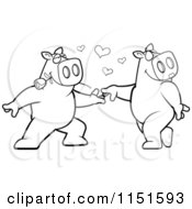 Cartoon Clipart Of A Black And White Dancing Pig Pair Vector Outlined Coloring Page