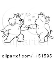 Cartoon Clipart Of Black And White Romantic Cats Dancing Together Vector Outlined Coloring Page