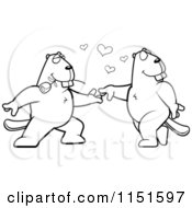 Cartoon Clipart Of A Black And White Beaver Couple Doing A Romantic Dance Vector Outlined Coloring Page