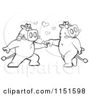 Cartoon Clipart Of A Black And White Boar Couple Doing A Romantic Dance Vector Outlined Coloring Page