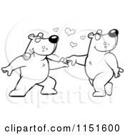 Cartoon Clipart Of A Black And White Bear Couple Doing A Romantic Dance Vector Outlined Coloring Page