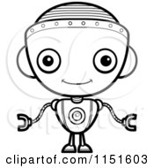 Cartoon Clipart Of A Black And White Robot Girl Facing Forward Vector Outlined Coloring Page