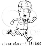Cartoon Clipart Of A Black And White Cub Scout Boy Running Vector Outlined Coloring Page by Cory Thoman