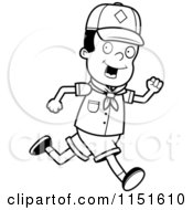 Cartoon Clipart Of A Black And White African American Cub Scout Boy Running Vector Outlined Coloring Page by Cory Thoman