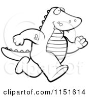 Cartoon Clipart Of A Black And White Alligator Running Upright Vector Outlined Coloring Page