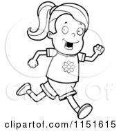 Cartoon Clipart Of A Black And White Running Girl Vector Outlined Coloring Page