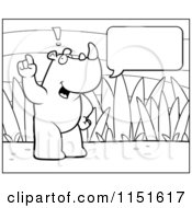 Cartoon Clipart Of A Black And White Rhino Making A Comment Vector Outlined Coloring Page