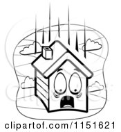 Cartoon Clipart Of A Black And White Scared House Falling Vector Outlined Coloring Page