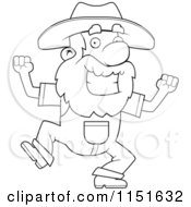 Cartoon Clipart Of A Black And White Happy Prospector Man Dancing Vector Outlined Coloring Page by Cory Thoman