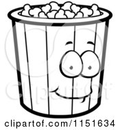 Cartoon Clipart Of A Black And White Popcorn Bucket Mascot Vector Outlined Coloring Page by Cory Thoman