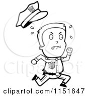 Cartoon Clipart Of A Black And White Little Police Man Running And Sweating Vector Outlined Coloring Page