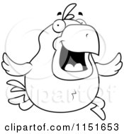 Cartoon Clipart Of A Black And White Running Chicken Vector Outlined Coloring Page