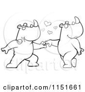 Cartoon Clipart Of A Black And White Rhino Couple Doing A Romantic Dance Vector Outlined Coloring Page