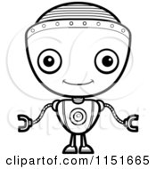 Cartoon Clipart Of A Black And White Friendly Robot Boy Facing Forward Vector Outlined Coloring Page by Cory Thoman