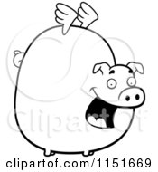 Cartoon Clipart Of A Black And White Fat Flying Pig With Little Wings Vector Outlined Coloring Page