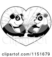 Cartoon Clipart Of A Black And White Panda Couple In A Heart Vector Outlined Coloring Page