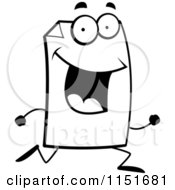 Cartoon Clipart Of A Black And White Happy Paper Character Running Vector Outlined Coloring Page