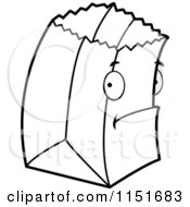 Cartoon Clipart Of A Black And White Shy Paper Bag Vector Outlined Coloring Page