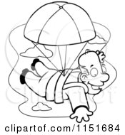 Cartoon Clipart Of A Black And White Happy Man Parachuting Vector Outlined Coloring Page