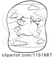 Cartoon Clipart Of A Black And White Winged Pig Flying Vector Outlined Coloring Page