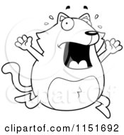 Cartoon Clipart Of A Black And White Panicking Cat Freaking Out Vector Outlined Coloring Page