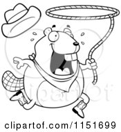 Cartoon Clipart Of A Black And White Happy Beaver Swinging A Lasso Vector Outlined Coloring Page