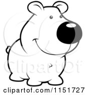 Cartoon Clipart Of A Black And White Cute Smiling Bear Vector Outlined Coloring Page