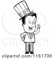 Cartoon Clipart Of A Black And White African American Uncle Sam Holding Up A Finger Vector Outlined Coloring Page