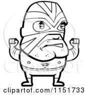 Cartoon Clipart Of A Black And White Lucha Libre Luchador Wrestler Vector Outlined Coloring Page by Cory Thoman