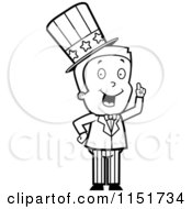 Cartoon Clipart Of A Black And White Uncle Sam Boy Character In A Patriotic Suit Vector Outlined Coloring Page