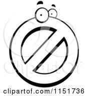 Cartoon Clipart Of A Black And White Prohibited Symbol Character Vector Outlined Coloring Page
